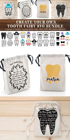 Make Your Own! Tooth Fairy Cut File Bundle Create Your Own Tooth Fairy Bag SVG Bundle is great for Circut or Silhouette cutting machine craft projects! These make great handmade gift ideas for kids!
