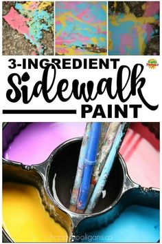 This easy homemade sidewalk paint recipe is made with 3 kitchen ingredients - cornstarch, water and Homemade Sidewalk Paint, Sidewalk Chalk Paint, Homemade Chalk Paint, Sidewalk Art, Pecan Cobbler, Summer Activities For Kids, Art Activities, Preschool Activities, Painting For Kids