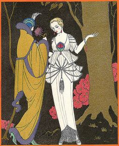 George Barbier (1882-1932) - French Art Deco Fashion Illustrator - Two Grand Dames