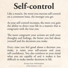 I actually think self control is among one of the most attractive qualities someone can have. So many ppl just do whatever whenever and not give it a second thought. But to have self control demonstrates mental strength and conviction Motivacional Quotes, Life Quotes, Lessons Learned, Life Lessons, Affirmations, Motivation, Self Discipline, Discipline Quotes, Burn Out
