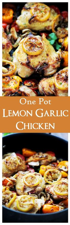 One Pot Lemon-Garlic Chicken and Veggies - Tender, garlicky, seared chicken thighs baked with sweet peppers, onions and tomatoes. Veggie Recipes, Chicken Recipes, Dinner Recipes, Healthy Recipes, Healthy Food, Weekly Recipes, Online Recipes, Yummy Recipes, Dinner Ideas