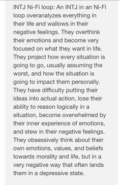 INTJ NI-Fi loop. Shared by a friend overseas that can't decide if she is INTJ, INTP, or INFJ. Her cognitive functions tests doesn't reveal as easily as most and its difficult to assess Fe online.