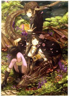 ✮ ANIME ART ✮ anime girl. . .anime boy. . .friends. . .dragon. . .nature. . .water. . .flowers. . .flower petals. . .fantasy. . .fairy tale. . .cute. . .kawaii
