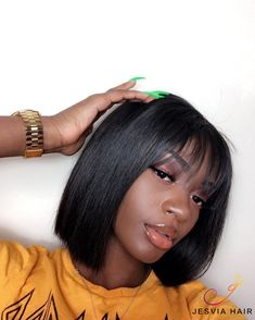 Jaja Hair Short Bob Wigs Brazilian Virgin Hair Straight Bob Wigs Lace Front Human Hair Wigs For Black Women Remy Hair Wigs 8 Inches Straight Weave Hairstyles, Short Bob Hairstyles, Wig Hairstyles, Black Girl Bob Hairstyles, Bangs Hairstyle, 100 Human Hair, Human Hair Wigs, Lace Front Wigs, Lace Wigs