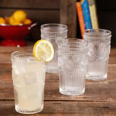 The Pioneer Woman Adeline 16-Ounce Emboss Glass Tumblers, Set of 4 - Walmart.com #pioneerwoman