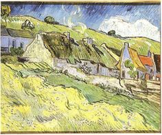 Thatched Cottages  Vincent van Gogh Painting, Oil on Canvas Auvers-sur-Oise: May, 1890