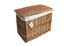 WoodLuv Medium Wicker Basket Storage Chest Trunk Hamper with Cloth Lining, Brown – Prima Furniture