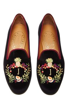 M'O Exclusive: Happy Menocal Bespoke Fruits Crest Slipper by Stubbs & Wootton for Preorder on Moda Operandi
