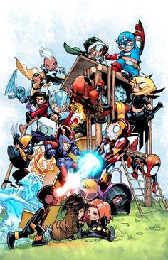 Giant Size - Little Marvel - AVX cover by Humberto Ramos, colours by Marte Garcia, variant cover and interior art by Skottie Young * Marvel Comics, Chibi Marvel, Marvel Kids, Bd Comics, Marvel Art, Marvel Heroes, Marvel Characters, Ms Marvel, Comic Book Artists