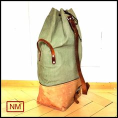 Vintage Swiss Army Duffle Bag Made of Leather and Canvas - Huge Swiss Military Bag Made in Switzerland in the 1970s