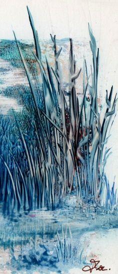 pintura encaustica em azul