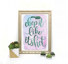 Chop It Like It's Hot Kitchen Painting by DrawnEastBoutique Kitchen Paint, Unique Jewelry, Handmade Gifts, Boutique, Frame, Hot, Painting, Etsy, Vintage
