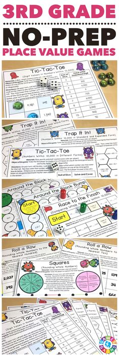 """""""Simple for the kids to play - they LOVED them!"""" Place Value Games for 3rd Grade contains 10 fun and engaging printable board games to help students to practice reading, writing, comparing, and rounding numbers. These games are so simple to use and require very minimal prep. They are perfect to use in math centers or as extension activities when students complete their work!"""