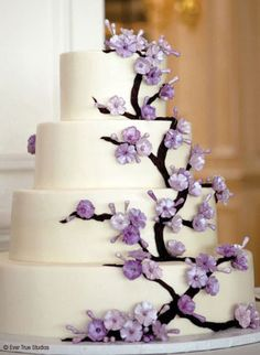 This cake, but instead of purple flowers, just have pink