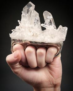 CRYSTAL KNUCKLES (I'm Going to Realign your Chakras Motherfvcker) by (@debrabaxterstudio 2009 quartz crystals sterling silver)