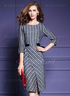 Kleider - $68.75 - Polyester Streifen 3/4 Ärmel Midi Elegant Kleider…