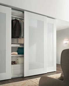 back-painted glass sliding doors, dry erase, ikea To replace existing closet doors Modern Closet Doors, Mirror Closet Doors, Sliding Wardrobe Doors, Built In Wardrobe, Sliding Doors, Wardrobe Ideas, Ikea Closet Doors, Closet Ideas, Entry Doors