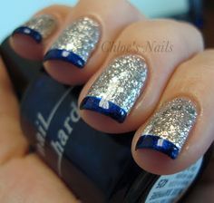 blue and silver (blue tips with silver lining and clear polish for rest of nail, perhaps?) Would do this only on the ring fingers.