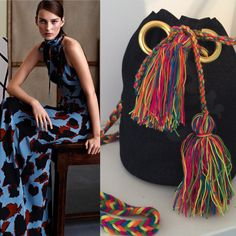 Jeans bucket and wayuu tassels- but at www.mo-nique.nl
