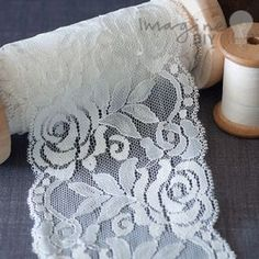 Julia Lace. wide floral lace for decorating diy wedding stationery, invitations, card making, cakes etc