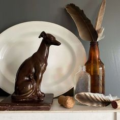 Vintage Plaster Greyhound Dog Sculpture - The Story of Claudio – In The Vintage Kitchen Shop Dog Sculpture, Painted Plates, Grey Hound Dog, Painting Studio, Finding A House, Spring Green, Household Items, Makers Mark, Best Dogs