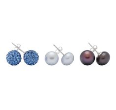 Crystal & Freshwater Pearl Sterling Silver Earrings Set of 3  $34.99. With gift box