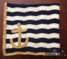 Ravelry: Nautical Baby Blanket with Anchor Applique pattern by Sara Leighton