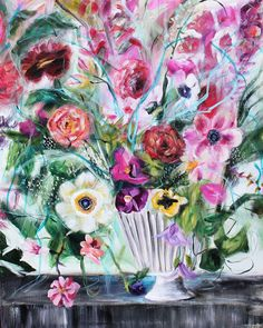 Pink flowers. Floral painting. I was just listening to a song and it brought me right back to that exact moment in time! In the best possible way! It infused me with goodness. Does that happen to you with music? Like, in a split second we're back to that time...reminiscing the details...This bouquet is working similar magic on me right now...where is it taking you? Come on, tell me I'm not the only one