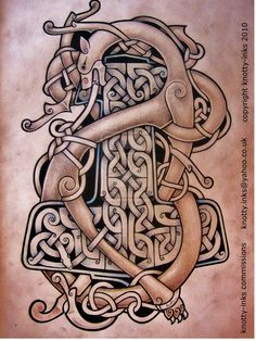Viking dragon design wrapped around Thor's hammer...AWESOME! Would make a great tattoo