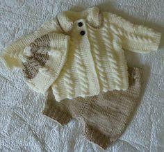Hand knitting Set in vanilla and brown  by RenisDesignermodelle ♡