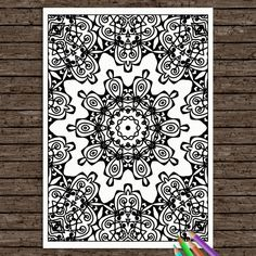 Colouring Book Printable Coloring Page Adult Mandala Strength Colouring Book Coloriage Kids Doodle Zen Henna Tribal Hippie Digital Download
