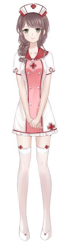 Manga fille tenu d'infirmière