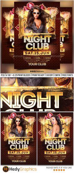 Night Club FlyerPoster V  Night Vs And Night Club