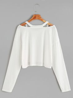 Camiseta corta cuello con abertura - blanco-Spanish SheIn(Sheinside)
