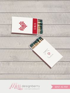 Wedding favors - matchbook covers -  for Rustic winter wedding DIY print at home on Etsy, $14.50