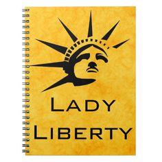 Lady Liberty Spiral Notebook #StatueOfLiberty #Statue #Liberty #USA #Immigrant #Refugee #Notebook
