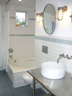 Think UnconventionallyInstead of paying for a custom vanity, use a table from a restaurant-supply store. . To contrast the industrial vanity, use  inexpensive subway tile and a 1940s tub