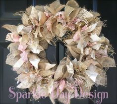 Wedding Decoration Burlap Wreath Wedding Gift by SparkleDayDesign, $80.00 This wreath can be custom made for the couple's wedding colors and makes a great gift
