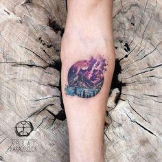 KORAY • KARAGÖZLER #mountains #space #nebula #nebulatattoo #mountaintattoo #stars #pines #sea #watercolortattoo #watercolor #abstract #abstracttattoo #koraykaragozler #koray_karagozler