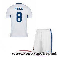 Maillot Foot Inter Milan Blanc Enfant PALACIO 8 Exterieur 15 2016 2017 Pas Chere