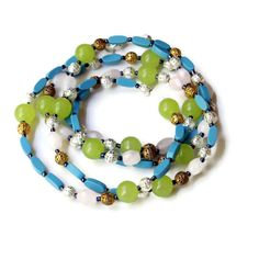 Extra Long Blue Green Pink Casual Necklace/ Bright by ALFAdesigns, $69.99