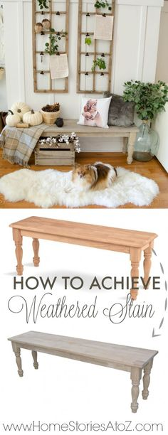 "How to achieve a weathered stain for furniture. This ""stain"" reacts with the wood to create a gorgeous driftwood color!"