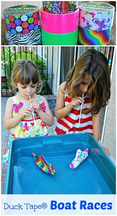 This is a great vision activity when you add the straws!  From Mess For Less: Duck Tape® Boat Races