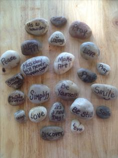 Little rocks we decorated to leave around the campsite for fellow campers! Near playground, bathrooms, benches....inspiring camp fun!