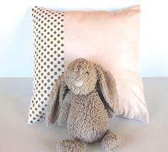 Blush pink gold dot pillow cover minky baby by WilderAndBean
