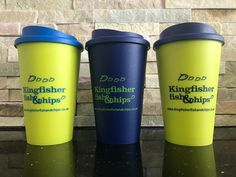 Introducing our re-usable cup that you could use anywhere..  There is a choice of 3 different styles, so you won't get yours mixed up with friends or family members.  Available today only £5.50 and you get a complementary fresh ground bean to cup coffee inside with your first purchase! #recycleable #DoingMyBit #DoingOurBit #fishandchips One Plymouth