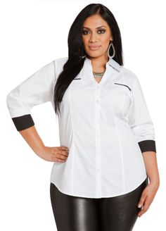 de7375d0cb0 Dual Color Button Down - Ashley Stewart Plus Size Blouses