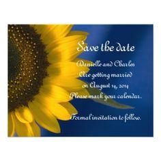 Sunflower on Blue Wedding Save the Date Custom Invite from Zazzle.com