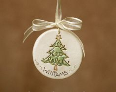 Personalized Reaching Snowman Christmas Ornament by Thenshemade