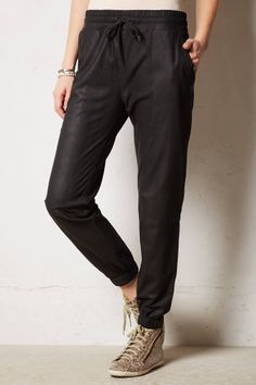 Banded Leather Track Pants - anthropologie.com